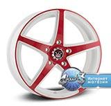 Колёсный диск Yamato Segun Asikaga Esijumi R15 / 6.0J PCD 5x112.0 ET 43.00 ЦО 57.10 Литой / Белый с красной глянцевой лицевой поверхностью
